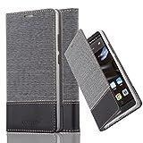 Cadorabo Hülle für Huawei Mate 8 - Hülle in GRAU SCHWARZ – Handyhülle mit Standfunktion und Kartenfach im Stoff Design - Case Cover Schutzhülle Etui Tasche Book