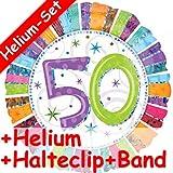 Folienballon Set * ZAHL 50 + HELIUM FÜLLUNG + HALTE CLIP + BAND * für Geburtstag und Party // Geburtstag Folien Ballon Helium Deko Ballongas Motto fünfzig 50.