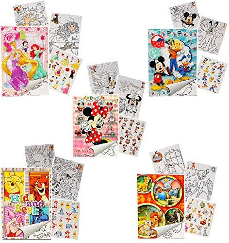 Unbekannt 10 Stück: Sticker & Malblöcke -  Disney Figuren - für Mädchen  - Malbuch / Malblock - A5 mit Aufkleber - Maus Playhouse / Pluto Minnie - Malvorlagen Malbüch..