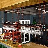 Yuan JIAN Bar Weinglas Halter,Hängend Creative Weinregal, Weinflaschenregal Continental High Getränkehalter,Invertiert Getränkehalter Dekoration,Schwarz,Bronze Lange 60/80/100/120cm,Breite 30cm