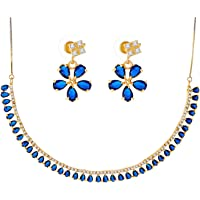 Zeneme Jewellery Set Gold Plated American Diamond Necklace Set with Earrings Jewellery for Women & Girls