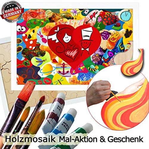Preisvergleich Produktbild Hochzeitsideen Hochzeitspuzzle Holzmosaik 80x55 cm inkl. Farben und Pinsel Ideen zur Hochzeit