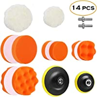 JERN® 7pcs Polishing Pad Kit, Sponge and Wool Polishing Pad Set with M14 Drill Adapter (3 and 5 inches Set of 14)
