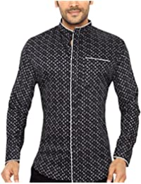 GlobalRang Men's Cotton Casual Printed Stand Collar Shirt