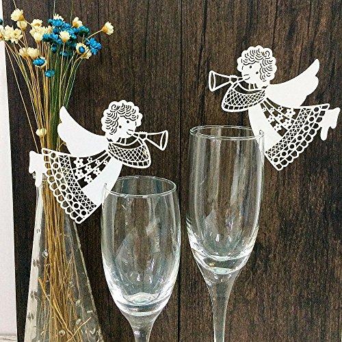 JZK 50 x Weiß Engel auf Gläser, Schimmer perle-weiss Platzkarten Tischkarten Namenskarten Tischdeko für Hochzeit Geburtstage Taufe Babyparty Babyshower Babydusche Kinder Party