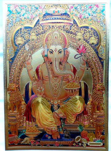 Bild POSTER Ganesha Ganesh goldfarben aus Kunststoff 30x21 cm Nr.24 - Ganesha-bild