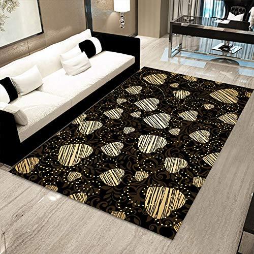 SXFYWYM Teppich Wohnzimmer Schlafzimmer Dekoration Moderne Floral Oriental Bereich Teppich rutschfest langlebig waschbar,Black,160X230CM (Oriental Bereich Teppich)
