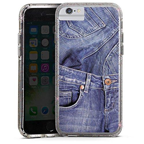 Apple iPhone 6 Bumper Hülle Bumper Case Glitzer Hülle Jeans Fashion Mode Bumper Case Glitzer rose gold