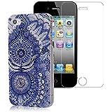 YOKIRIN iPhone 4 4G 4S H�lle PC Hard Case Cover Owl Eule Feder Blau Blumen Schutzh�lle Etui Schale+ 1x Display Schutzfolie Screen Protector
