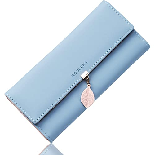 Portafoglio in pelle PU ROULENS per borsa con RFID lunga da donna con ciondolo foglia con cerniera