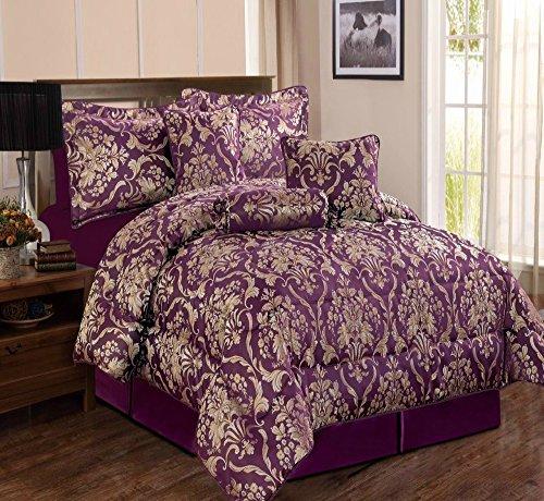 THL Sandra/Ruby Tagesdecke Tröster Luxus 7-teilig Bett, Spread Set gefüllt Hals Roll & Kissen, violett, Doppelbett (7 Stück Luxus Tröster)