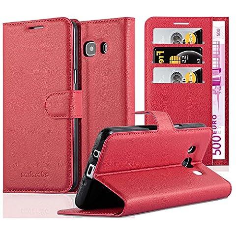 Cadorabo - Book Style Hülle für Samsung Galaxy J5 (6) (Modell 2016) - Case Cover Schutzhülle Etui mit Standfunktion und Kartenfach in KARMIN-ROT