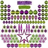 ITART 122ct Christbaumschmuck Full Set Weihnachtskugeln Ornamente Assorted Ornamente einschließlich Topper, Schneeflocken, Perlen, Lametta, Mini Gife Boxen, Tannenzapfen, Teardrop (lila Grün)