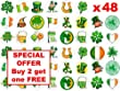 48 x 3cm St Patricks Day Irish Ireland Flag (24 designs) Fairy Muffin Cup Cake Toppers Decoration Edible Rice Wafer Paper