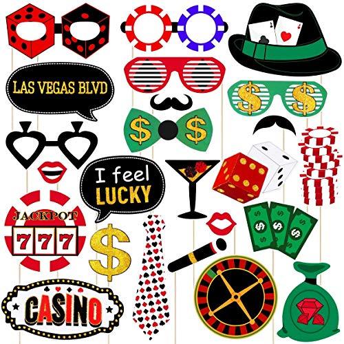 (Persönlichkeit Urlaub Las Vegas Casino Photo Booth Requisiten - Casino Motto Party Dekoration mit Holzstäbchen Las Vegas Party Dekoration, Pack von 24 Party bevorzugt Dekorationen)