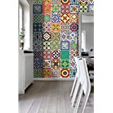 Wall Art Tiles Decor Mexican Talavera Special Stickers (Pack with 48) (4 x 4 inches | 10 x 10 cm) by Moonwallstickers.com