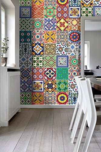 Wall Art Tiles Decor Mexican Talavera Special Stickers (Pack with 48)