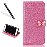 Brillant Coque Etui pour iPhone 7,Portefeuille Bling Housse pour iPhone 7,Leeook Luxe Noble Sparkle Shiny Coquille Rose PU Cuir Leather Protection Couverture Arrière Case Cover Bookstyle Folding Rabattable Belle Briller Strass Papillon Fermeture Magnetique Pratique Pochette avec Pratique Fonction Support Wallet Flip Cover pour iPhone 7 4.7 Pouces + 1 X Noir Stylet