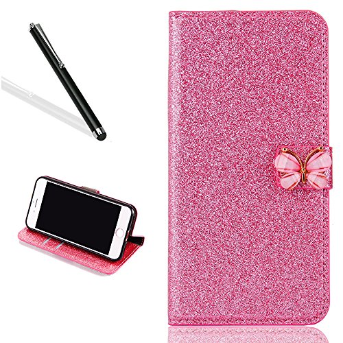 Brillant Coque Etui pour iPhone 7,Portefeuille Bling Housse pour iPhone 7,Leeook Luxe Noble Sparkle Shiny Coquille Rose PU Cuir Leather Protection Couverture Arrière Case Cover Bookstyle Folding Rabattable Belle Briller Strass Papillon Fermeture Magnetique Pratique Pochette avec Pratique Fonction Support Wallet Flip Cover pour iPhone 7 4.7 Pouces + 1 X Noir Stylet 0612056168698