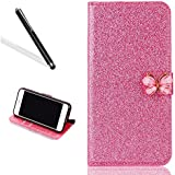 Galaxy J5 2016 Diamante Funda, Bling brillante funda para Samsung J5 2016, leeook Lujo noble Sparkle Lila Strass Kristall Diamond Funda de cuero PU Funda Funda FLIP Folio Case purpurina portatil Stand Wallet Funda Cover ID Card Tarjeta Funda Skin Shell Funda Bumper con mariposa cierre magnético para Samsung Galaxy J5 2016 + 1 x Negro Lápiz de Purple