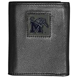 NCAA Memphis Tigers Deluxe Leather Tri-fold Wallet Packaged in Gift Box