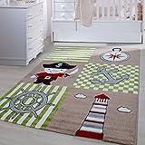Carpetsale24 Kinder Teppiche für Kinderzimmer, Babyzimmer, Spielteppich Pirat Motiv kariert, Multi Farben Beige Grün Rot Schwarz Weiss_0450, Maße:120x170 cm