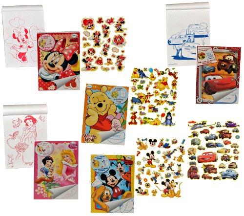 Unbekannt 1 großes Malbuch / Malblock A 4 mit 31 Stickern - für Mädchen - Malvorlagen - Disney Minnie Pooh Princess - Papier z.B. für Stickeralbum -