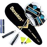 Senston Graphit Badminton Set Carbon Profi Badmintonschläger Leichtgewicht Badminton Schläger Federballschläger Set für Train