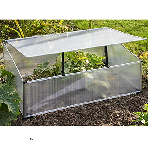 Aluminium Frühbeetkasten 100x60x40cm mit aufstellbarem Dach • 100x60cm Alu Polycarbonat Gewächshaus Tomaten Treibhaus Frühbeet
