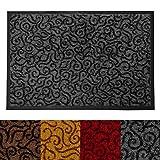 Design Schmutzfangmatte | mit Schnörkelmuster | für Eingangsbereich | Fußmatte in vielen Größen und Farben | grau 90x150 cm