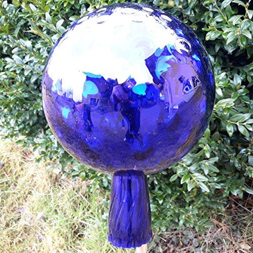 L Rosenkugel Traubenoptik Blau Höhe 18cm Durchmesser 12cm Rosenkugeln Gartenkugel Handarbeit stabieles Glas verspiegelt und wetterfest (Blau)