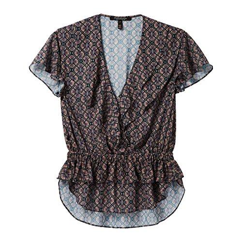 Maison Scotch Damen Top Sheer Overlap Ruffle Top 144713 Combo A XS - Sheer Ruffle Shirt