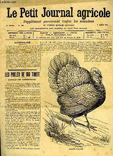 LE PETIT JOURNAL AGRICOLE N° 862 - Les Poules de ma tante ; élevage des dindonneaux (E. Roulller-Arnoult).