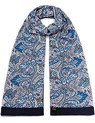 Mailando Damen Schal aus reiner Baumwolle und Seide, blau - lila - braun - rosa