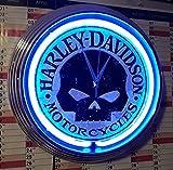 Neon Orologio Aged Harley Davidson Motorcycle Skull Neon Blu-anche con altri Neon Colori disponibili.