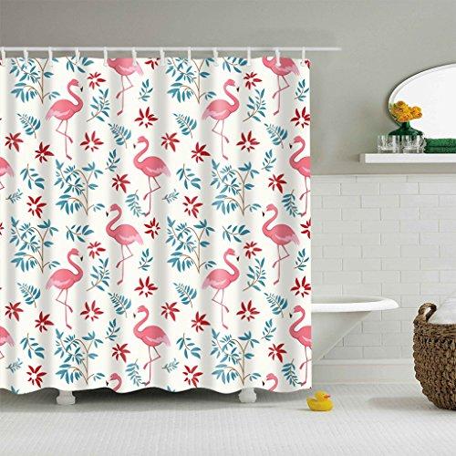 Top Der Rote Baum (Badezimmer Duschvorhang, Top Qualität Anti-Schimmel Duschvorhänge Digitaldruck inkl. 12 Duschvorhangringe, 180x180cm (Flamingo))