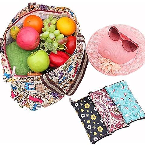 Millya 2pcs Creative impermeabile pieghevole grande borsa a tracolla borsa da viaggio riciclare Borsa con tasca laterale