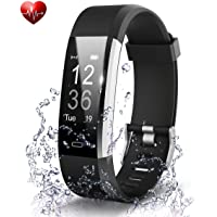 TISWAQ® ID115 Plus V5.0 Bluetooth Fitness Band Smart Watch Tracker with Heart Rate Sensor Activity Tracker Waterproof Body Functions Like Steps and Calorie Counter, Blood Pressure