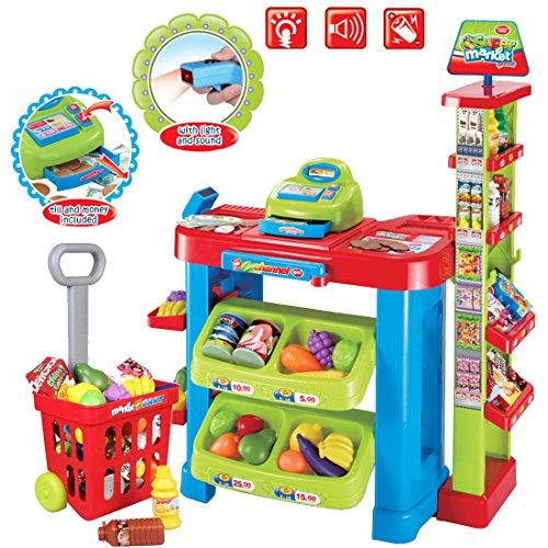 deAO Supermarkt Kinder Spielzeug-Marktstand Laden mit Einkaufstrolley und Spielzeug-Lebensmittel