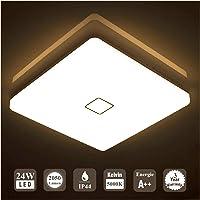 Öuesen 24W imperméable à l'eau LED Plafonnier moderne mince carré LED Lampe de plafond Blanc Chaud 3000K Applicable à la…