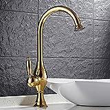 JRUIA Landhausstil Gold Bad Wasserhahn Nostalgie Hohe Waschtischarmatur 360°Drehbar Einhebel Mischbatter Aufsatz-Waschbecken Armatur Hoher Auslauf f.Badezimmer aus Messing