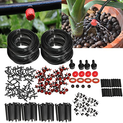 KING DO WAY Kit de Riego por Goteo, Micro Flujo Sistema de Riego Automático para Jardín Manguera de Jardín ( Tubo de 92m )
