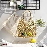 Einfarbige Cannetille Hand Häkeln Woven Handmade Bag Ausschnitt Mesh Tasche Gefüttert Stroh...