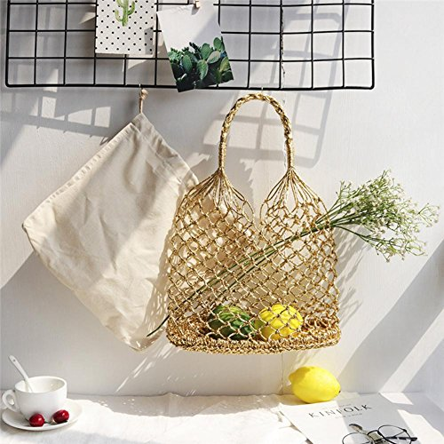Einfarbige Cannetille Hand Häkeln Woven Handmade Bag Ausschnitt Mesh Tasche Gefüttert Stroh Geflochtene Strandtasche (Häkeln Golden)