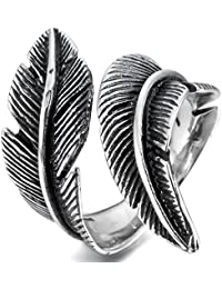 MunkiMix Acero Inoxidable Anillo Ring Negro El Tono De Plata Pluma Feather Vendimia Vintage Retro Hombre,Mujer