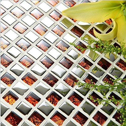 Gowe Europe Home mosaïque pour salle de bain Verre de Cristal puzzle Tile TV Stickers muraux Miroir en mosaïque pour carrelage pour Kitcen