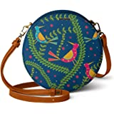DailyObjects Teal Birds Orbis Round Sling Crossbody Bag for girls and women | Vegan leather, Stylish, Sturdy, Zip closure wit