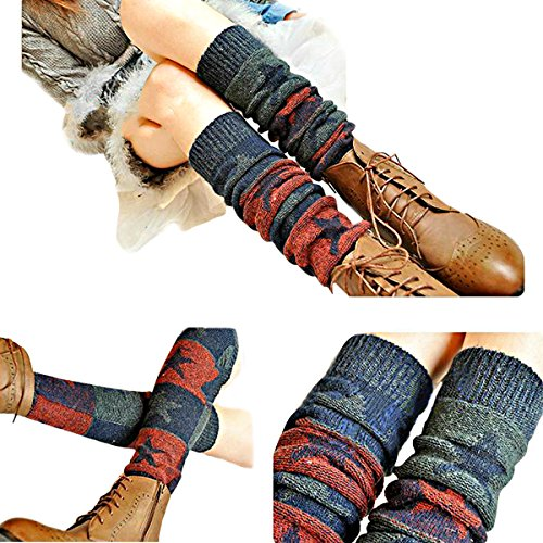 Butterme Ladies Girls Calcetines Hasta La Rodilla de Invierno Knit Crochet Warm Leg Warmer(Vino rojo)