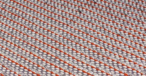 Contemporary design rug LIORE Runner 66x240cm Red Red 65% Wool / 35% Cotton ... (Grau Blau Contemporary Rug)