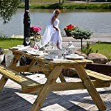 Wooden Marta 8 Seater Picnic Table - Wood Picnic Bench for Gardens Parks Schools and Pubs 1.8 Meter Length